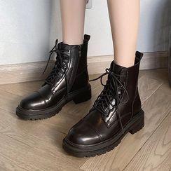 TEAHOO(テホ) - Platform Lace-Up Short Boots