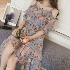TROBIZ - Short-Sleeve Floral Print Cold Shoulder Midi Dress