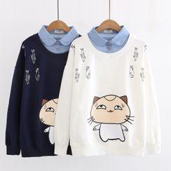 Aigan - Mock Two Piece Printed Sweatshirt