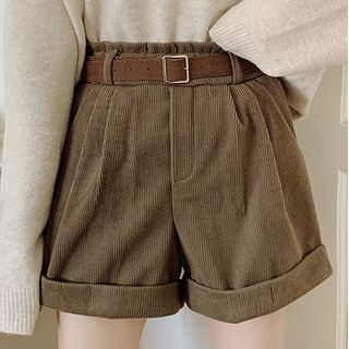 Magimomo - High-Waist Wide-Leg Cuffed Corduroy Shorts