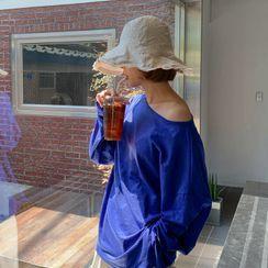 MERONGSHOP - Fray-Edge Linen Blend Bucket Hat