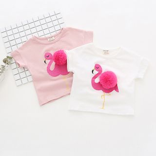 Dolphin Dream - Kids Flamingo Embroidered Short-Sleeve T-Shirt