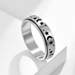 Andante - 月亮&星星不銹钢戒指