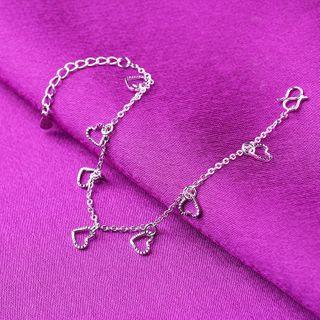 Forainer - 925 Sterling Silver Heart Bracelet / Anklet