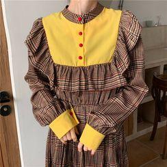Sienne - Plaid Ruffled Long-Sleeve A-Line Midi Dress