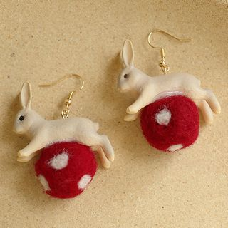 Cometto - Pom Pom Rabbit Earring / Clip-On Earring