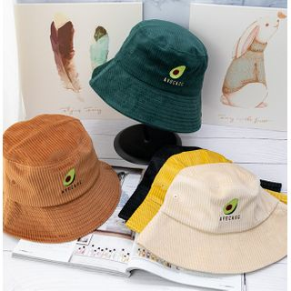 riverain - Avocado Embroidered Corduroy Bucket Hat