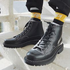 VEAZ - Faux Leather Lace-Up Short Boots