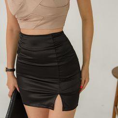 UUZONE - Slit-Front Mini Skirt