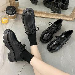 Bolitin - Plain Platform Chunky Heel Lace-Up Shoes