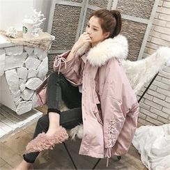 JVLLY - Faux Fur Hooded Lace-Up-Cuff Parka
