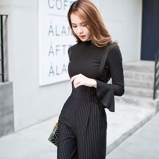 Dimanche - Set: Plain Long Sleeve Knit Top + Pinstriped Suspender Wide Leg Pants