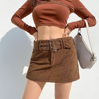Amyway - Corduroy Mini Pencil Skirt with Belt