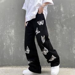 INStudio - 蝴蝶印花寬腿牛仔褲