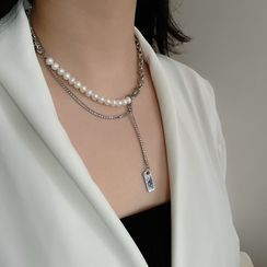 Juanitro - Layered Pendant Faux Pearl Panel Chain Necklace