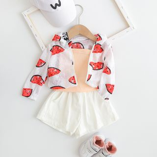 MOM Kiss - Baby Fruit Print Hooded Jacket