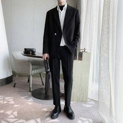 Citigleam - Set: Double-Breasted Blazer + Dress Pants