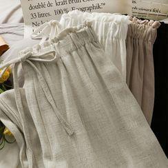 Lemongrass - Paperbag High-Waist Wide-Leg Linen Pants