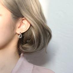 Gaya - 925 Sterling Silver Heart Dangle Earrings