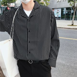 Naideth - Striped Long-Sleeve Loose-Fit Shirt