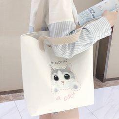 Canvas Love - Cat Print Tote Bag
