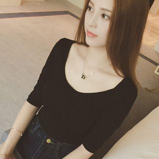 camikiss(キャミキス) - Plain Long-Sleeve T-Shirt