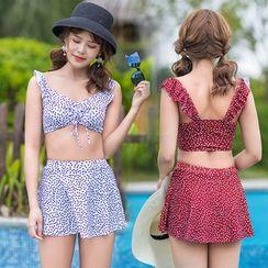 Magarri - 套装: 圆点泳衣上衣 + 裙子