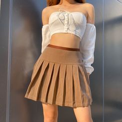 Cincine - Pleated Mini A-Line Skirt