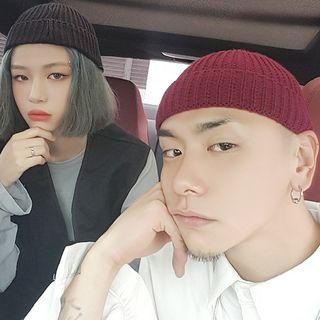 Heloi - 純色針織無邊帽