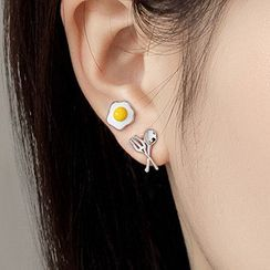 CatSoul - Fried Egg Spoon & Fork Asymmetrical Alloy Earring