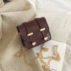 Bag Gang - Faux Leather Chain Strap Crossbody Satchel Bag