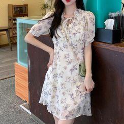 Glen Glam - Short-Sleeve Floral Mini A-Line Dress