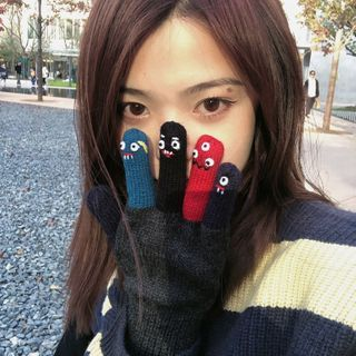 HATHOT(ハットホット) - Color Block Knit Gloves