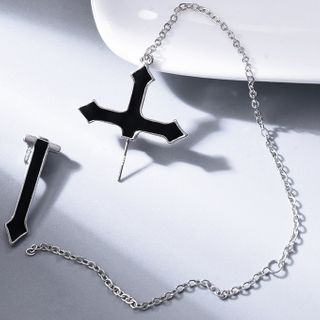 Soosina(スーシナ) - Stainless Steel Cross Chain Earring