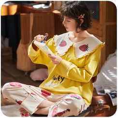 Momoi - Pajama Set: Printed Long-Sleeve T-Shirt + Pants