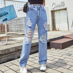 Satinoah - Distressed Straight-Leg Jeans