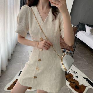 Hevnir - Puff-Sleeve Button-Up A-Line Mini Dress