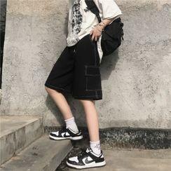Porstina(ポルスティナ) - Drawstring-Waist Stitch-Trim Shorts