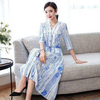 Glaypio - Printed 3/4-Sleeve Midi A-line Dress