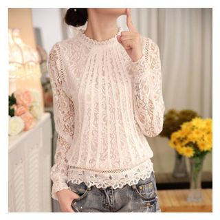 Hilsah - Long-Sleeve Lace Top