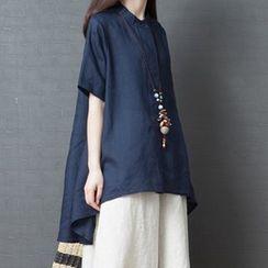 Fashion Street - Plain Elbow-Sleeve High-Low Tunic Top