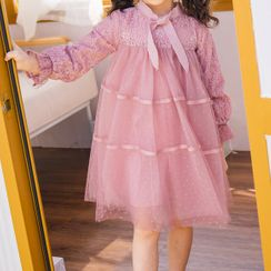 Hobab - Kids Long-Sleeve Midi A-Line Mesh Dress