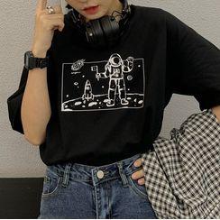 Contree - Astronaut Print Short-Sleeve T-Shirt
