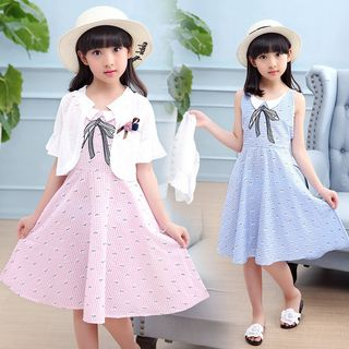 Pegasus - Kids Set: Gingham Sleeveless Dress + Flower Accent Cropped Coat