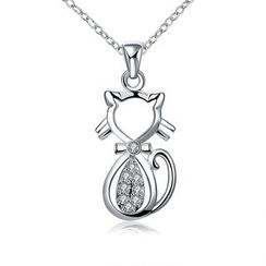 BELEC - Fashion Cat Pendant with White Austrian Element Crystal and Necklace