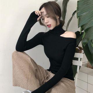 Maido - Turtleneck Cutout Long-Sleeve Knit Top