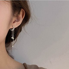 Taimi - Non-matching Alloy Moon & Star Fringed Earrings