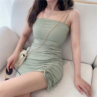 Windflower - 细肩带抽绳迷你塑身连衣裙