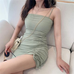 Windflower - Spaghetti Strap Drawstring Mini Bodycon Dress