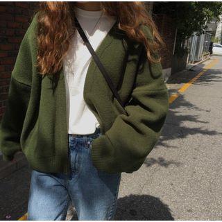 ever after - Drop-Shoulder Open-Front Knit Cardigan